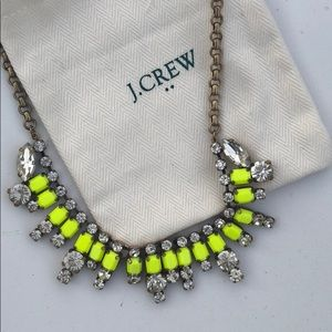 J Crew Neon and Clear Stone Necklace